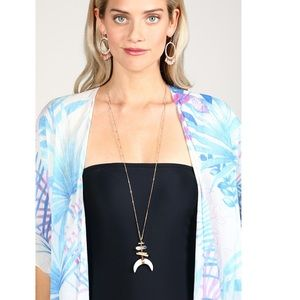 Tayzani Jewelry - Crescent Horn Moon Metal Accent Pendant Necklace